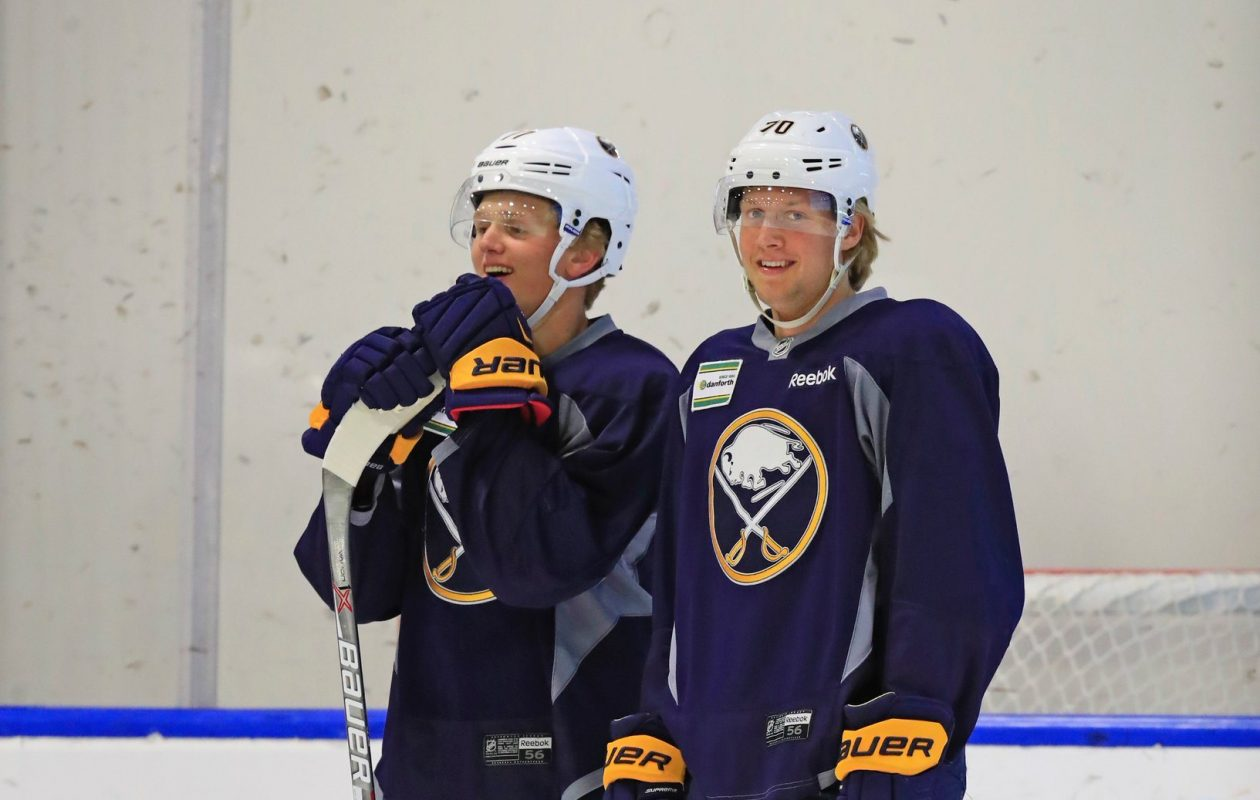 Casey Mittelstadt, left, and Alex Nylander met during last summer's development camp, and they'll be linemates Wednesday. (Harry Scull Jr./News file photo)