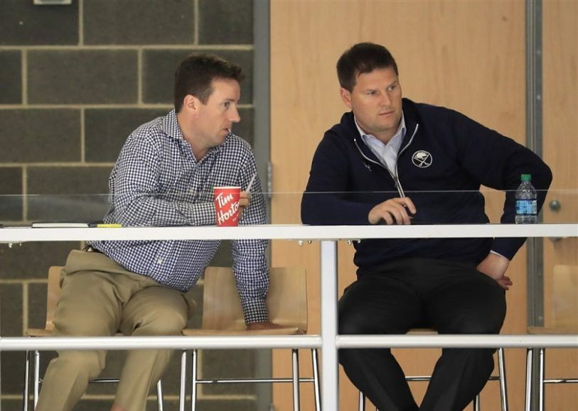 Steve Greeley, left, oversees the Sabres' pro scouting staff for General Manager Jason Botterill. (Harry Scull Jr./News file photo)