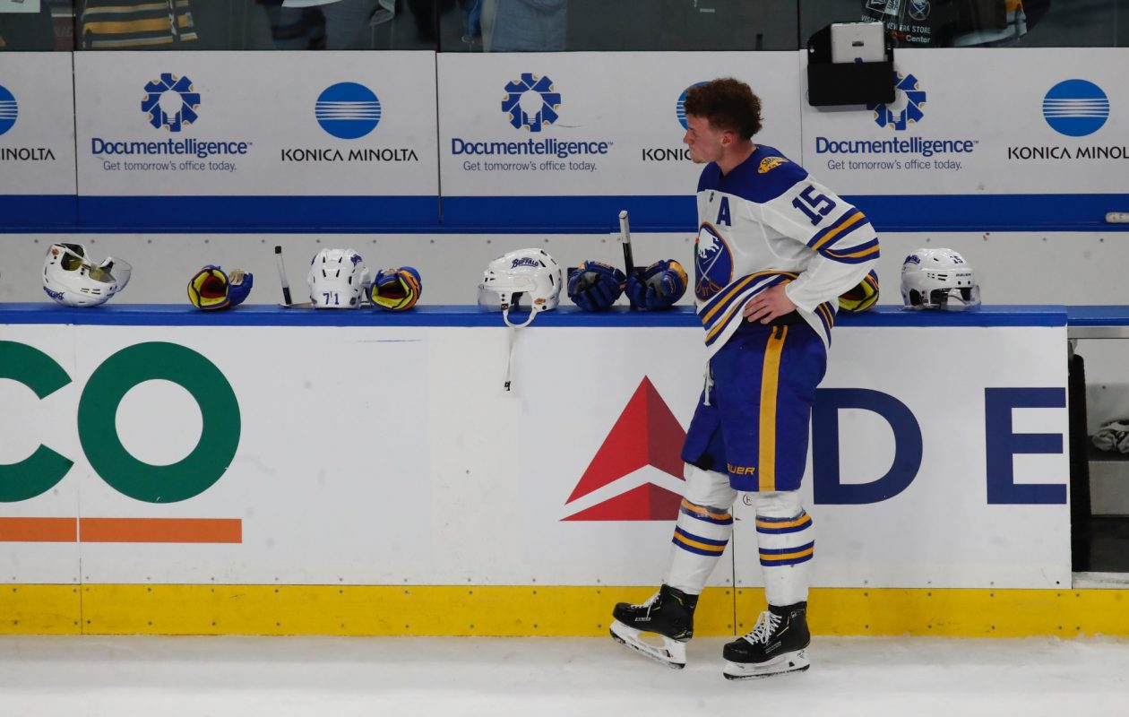 Jack Eichel knows the Sabres' home schedule is over with another loss Wednesday night. (Harry Scull Jr/Buffalo News)