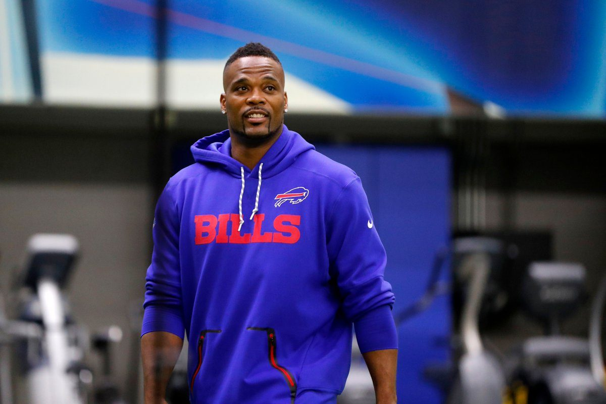 Fred Jackson dons Bills gear again as he retired with the team on Wednesday, April 18, 2018 (Mark Mulville/Buffalo News)