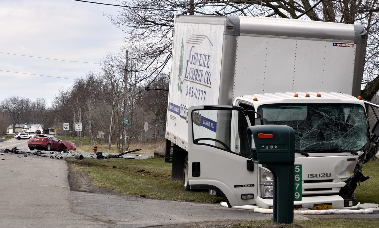 One person was killed and another seriously injured in this collision Thursday, April 19, 2018 in the Town of Lockport. (Larry Kensinger/Special to The Buffalo News)