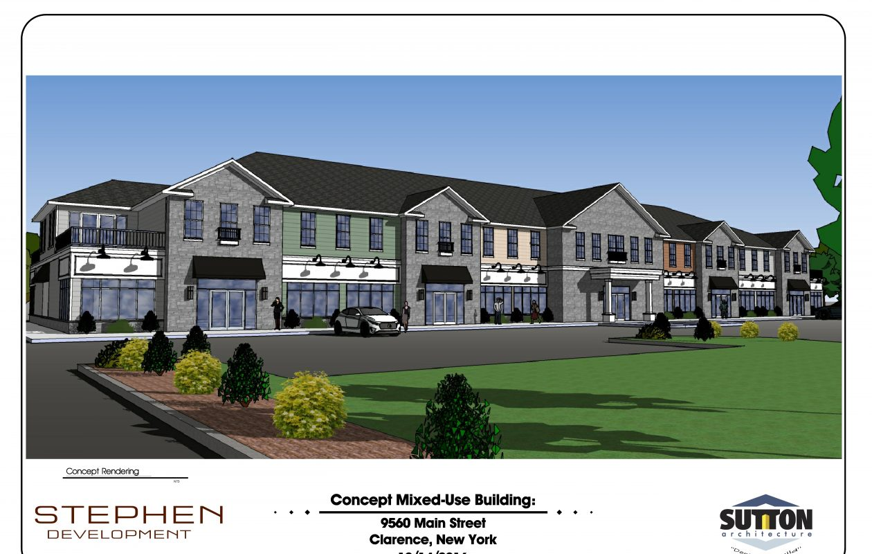 A rendering of the mixed-use building planned for 9560 Main St., Clarence, the former site of the Fountain Court Motel. (Image courtesy of Stephen Development)