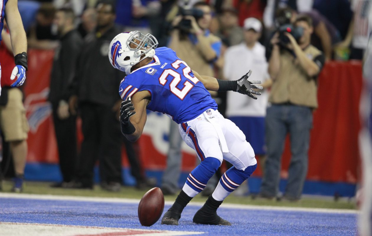 Buffalo Bills running back Fred Jackson celebrates a third quarter tocuhdown against the Atlanta Falcons on Dec. 1, 2013. (Harry Scull Jr./News file photo)