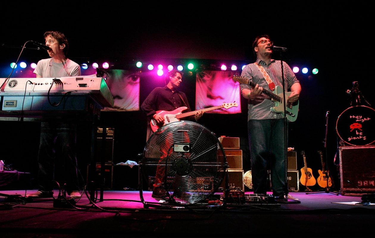John Linnell, left, and John Flansburgh of They Might Be Giants perform in 2011. The band will come to the Town Ballroom this fall.  (Mike Lawrie/Getty Images)