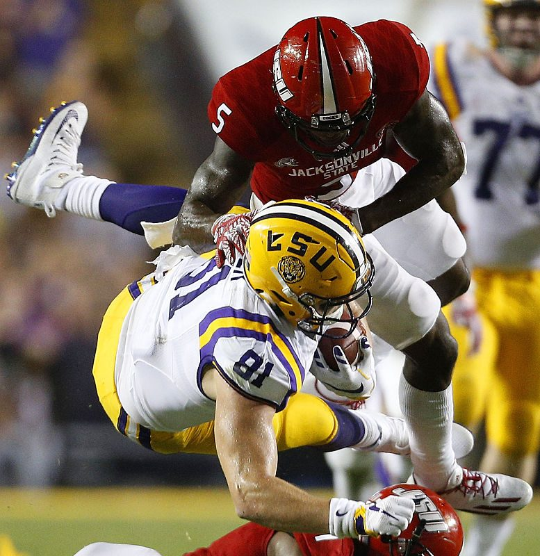 Siran Neal (5) did it all for the Jacksonville State defense. (Getty Images)