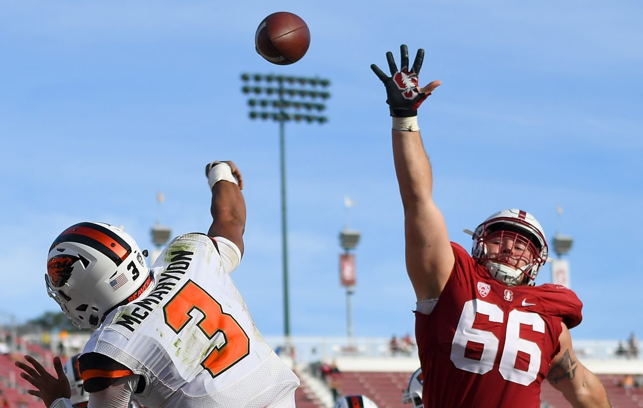 Harrison Phillips pressures the passer against Oregon State. (Thearon W. Henderson/Getty Images)