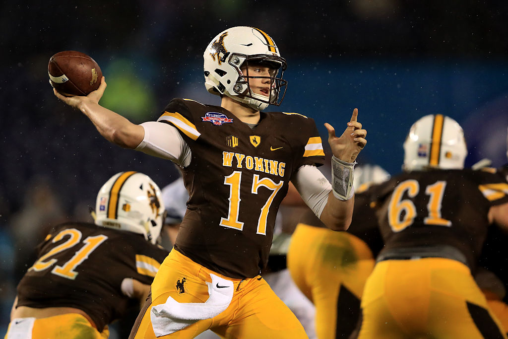 Josh Allen throws during the first half of the Poinsettia Bowl on Dec. 21, 2016. (Getty Images)