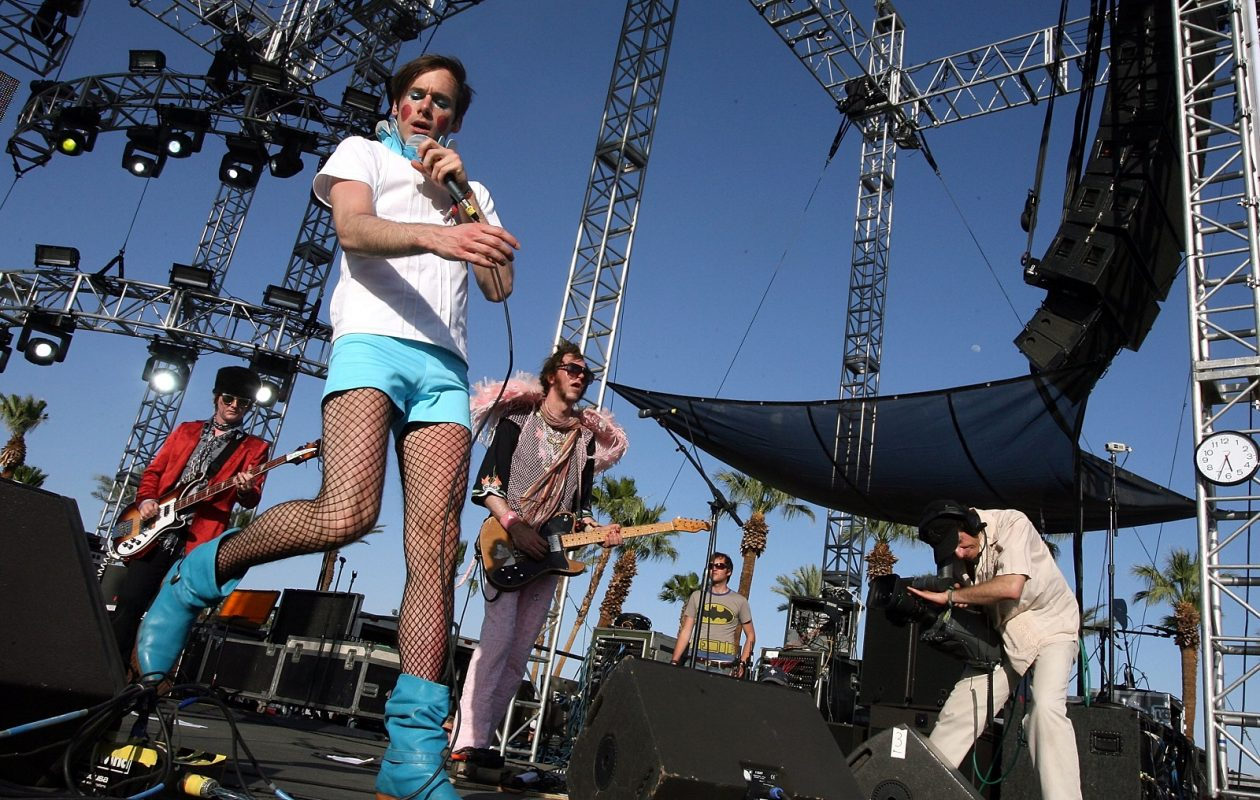 Kevin Barnes, foreground, performs with Of Montreal at Coachella in 2007. (Frazer Harrison/Getty Images)