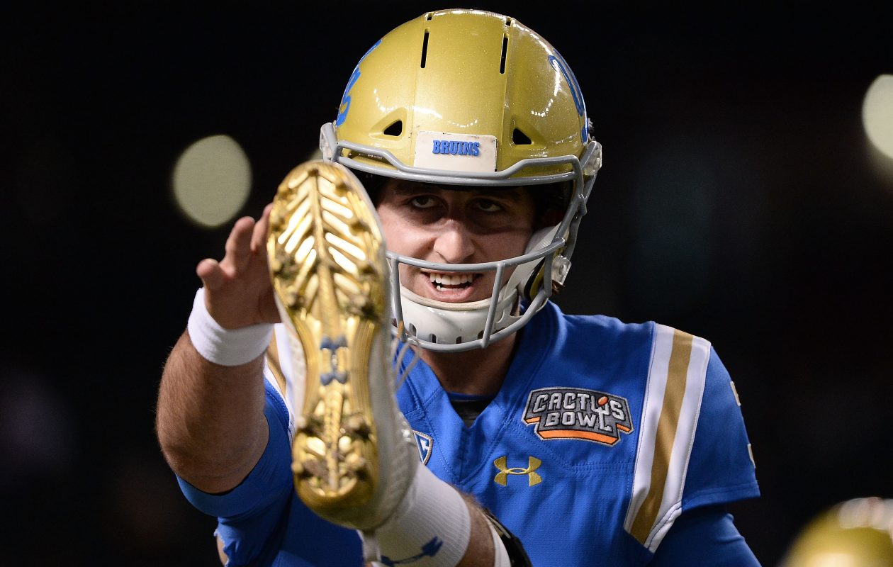 Quarterback Josh Rosen of the UCLA Bruins warms up on the field for the Cactus Bowl on Dec. 26, 2017, in Phoenix. (Jennifer Stewart/Getty Images)