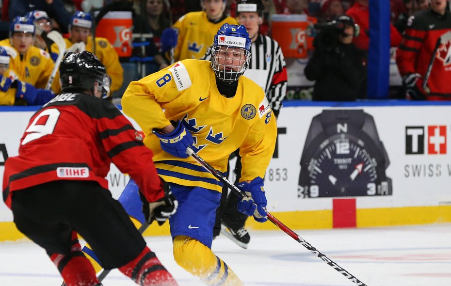 Rasmus Dahlin helped Sweden win the silver medal in Buffalo during the World Junior Championship in January. (Getty Images)