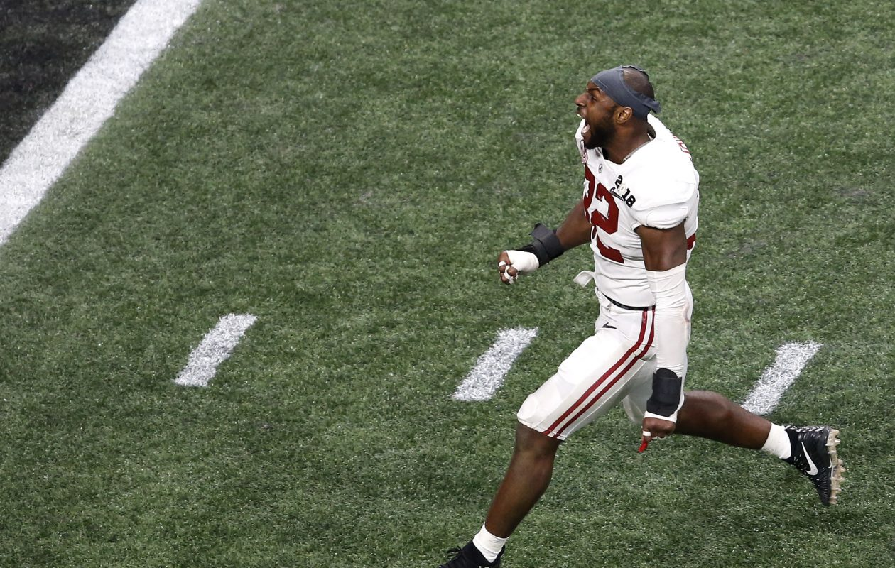 Georgia linebacker Rashaan Evans celebrates the Crimson Tide's national championship victory. (Getty Images)