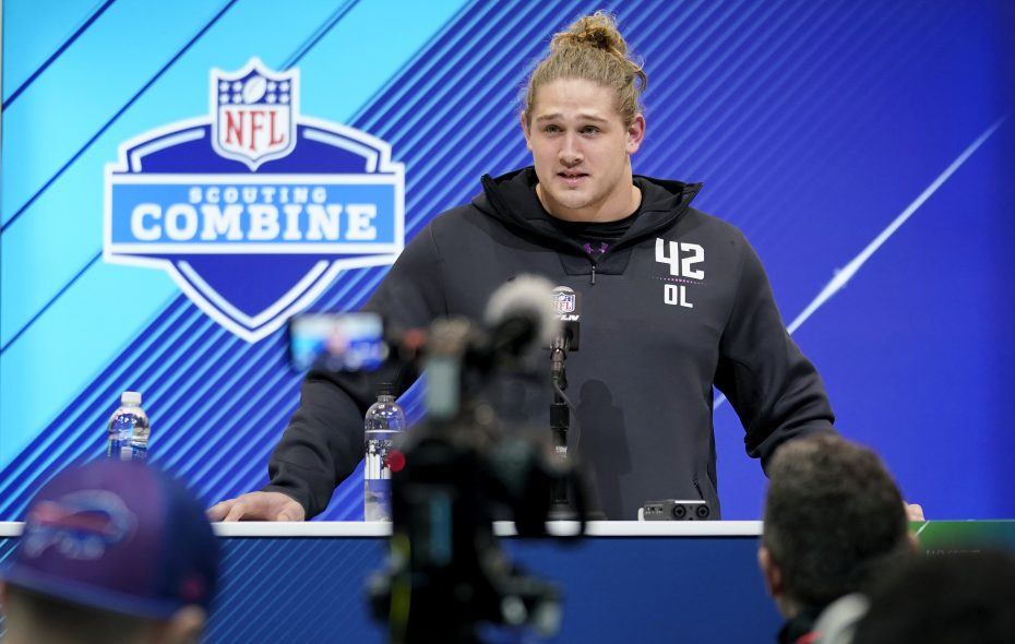 Virginia Tech offensive lineman Wyatt Teller speaks to the media at the NFL Scouting Combine. (Getty Images)