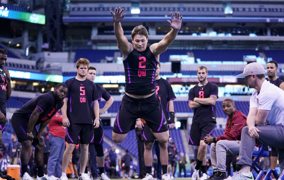 Wyoming quarterback Josh Allen competes in the broad jump during the NFL Combine at Lucas Oil Stadium on March 3, 2018, in Indianapolis. (Joe Robbins/Getty Images)