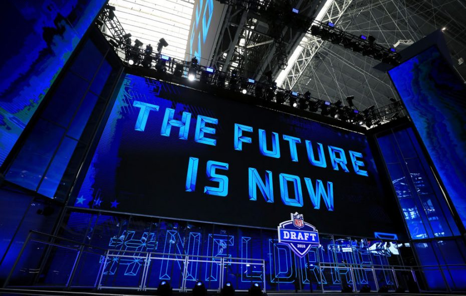 A view of the NFL Draft theater prior to the start of tonight's first round of the 2018 NFL Draft at AT&T Stadium. (Getty Images)