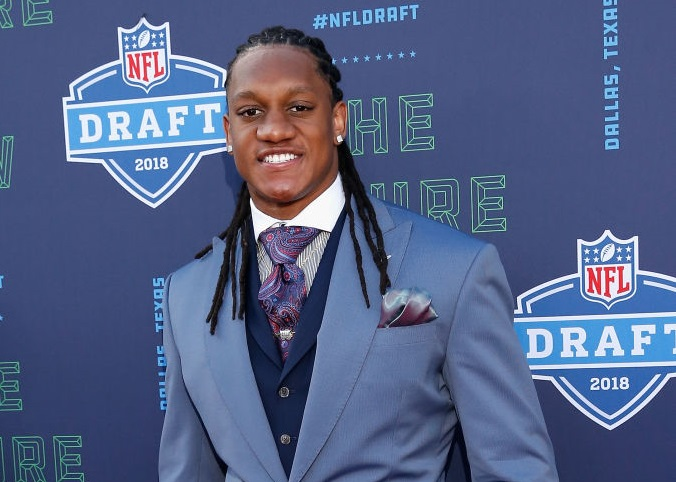 Tremaine Edmunds of Virginia Tech on the red carpet prior to the start of the 2018 NFL Draft. (Getty Images)
