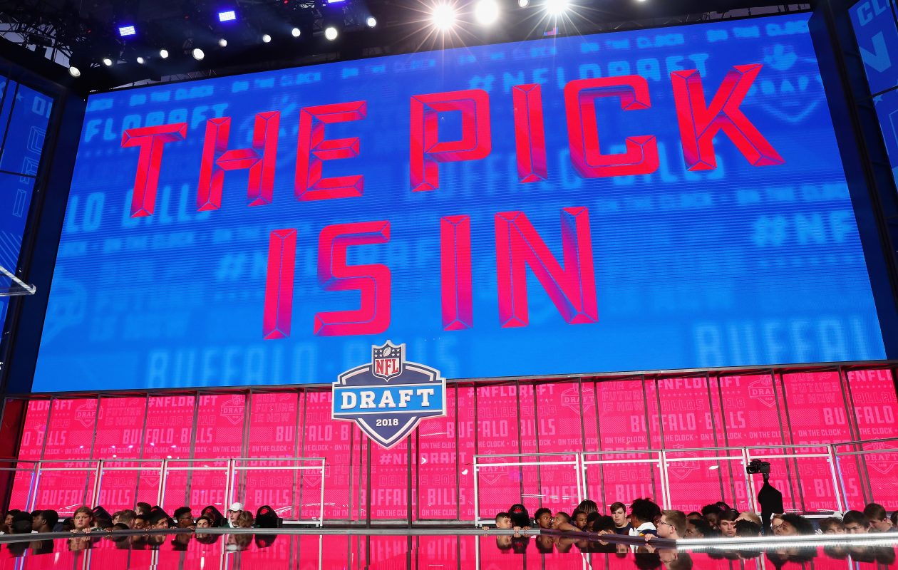 A video board displays the text 'THE PICK IS IN' for the Buffalo Bills during the first round of the 2018 NFL Draft at AT&T Stadium. (Getty Images)