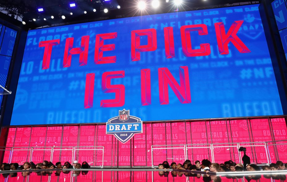 "A video board displays the text ""THE PICK IS IN"" for the Buffalo Bills during the first round of the 2018 NFL Draft at AT&T Stadium. (Getty Images)"