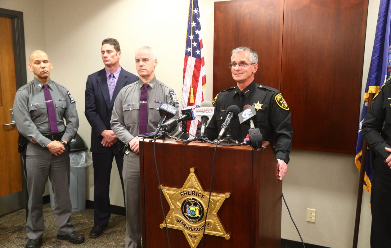 Genesee County Undersheriff Gregory Walker, right,  holds a press conference with N.Y. State Police Captain Edward Kennedy, second from right,  at the Genesee County Sheriff's Office in Batavia, N.Y. on  Wednesday,  April 11, 2018,  after a Genesee County deputy shot an armed man outside the Indian Falls Log Cabin Restaurant Wednesday night. (John Hickey/Buffalo News)