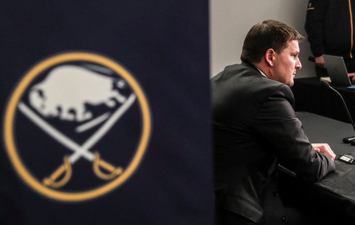 Jason Botterill had many pointed words for the media on Wednesday (James P. McCoy/Buffalo News).