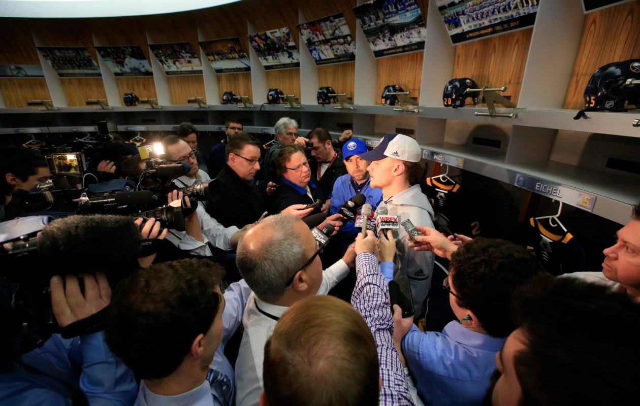 All eyes were on Jack Eichel Monday morning as the Sabres cleaned out their lockers. (Harry Scull Jr./Buffalo News)