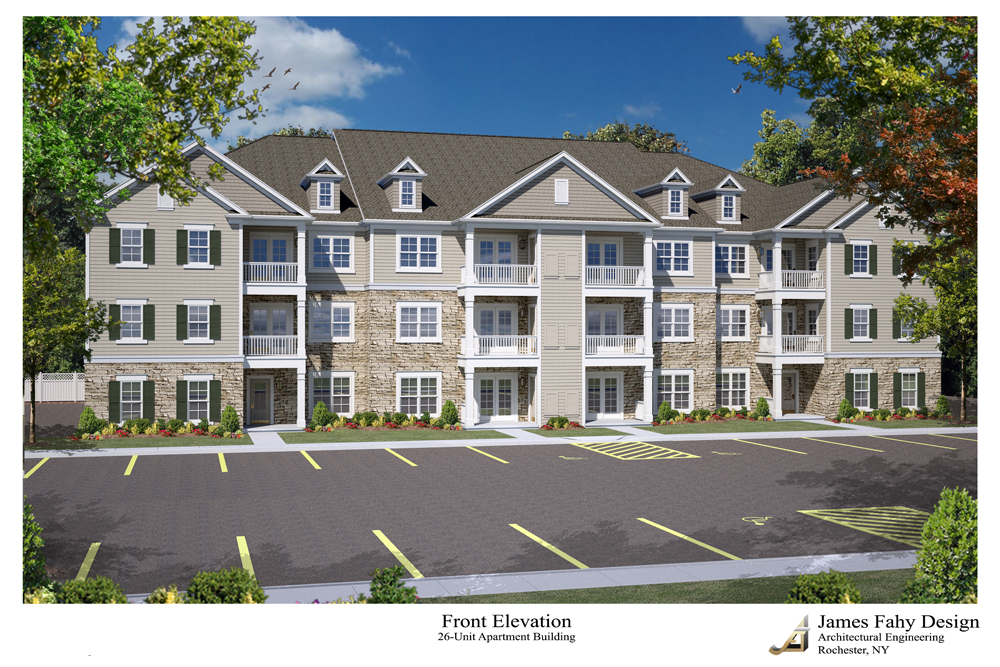This is a rendering of one of the two, three-story apartment buildings now under construction at 491 John James Audubon Parkway in Amherst. (Image courtesy Paul Bliss)