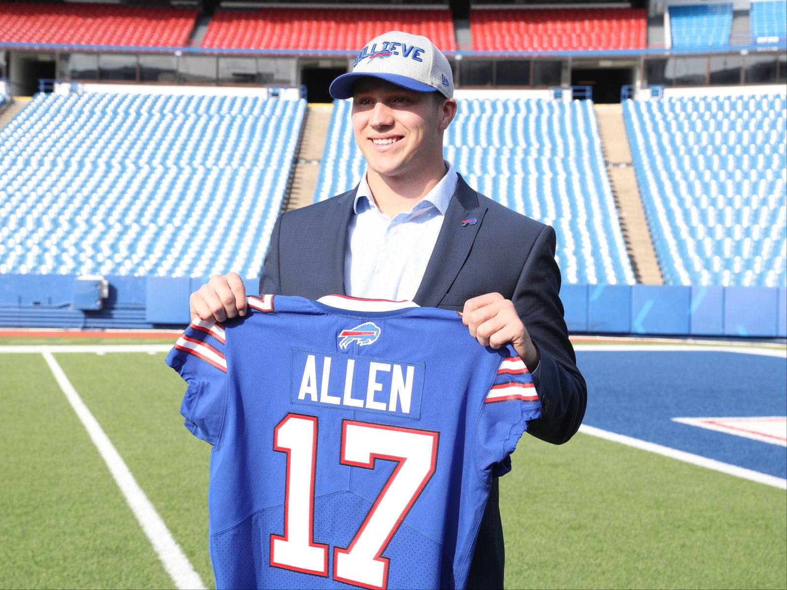 591f49a1995 Buffalo Bills first round picks Josh Allen poses for the press at New Era  Field in Orchard Park