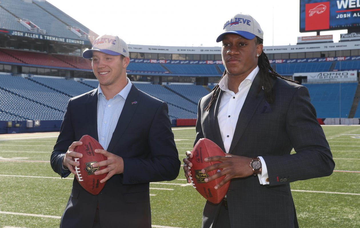 Buffalo Bills first round picks Josh Allen and Tremaine Edmunds posse for the press at New Era Field in Orchard Park,N.Y. on Friday, April 27, 2018.  James P. McCoy/Buffalo News
