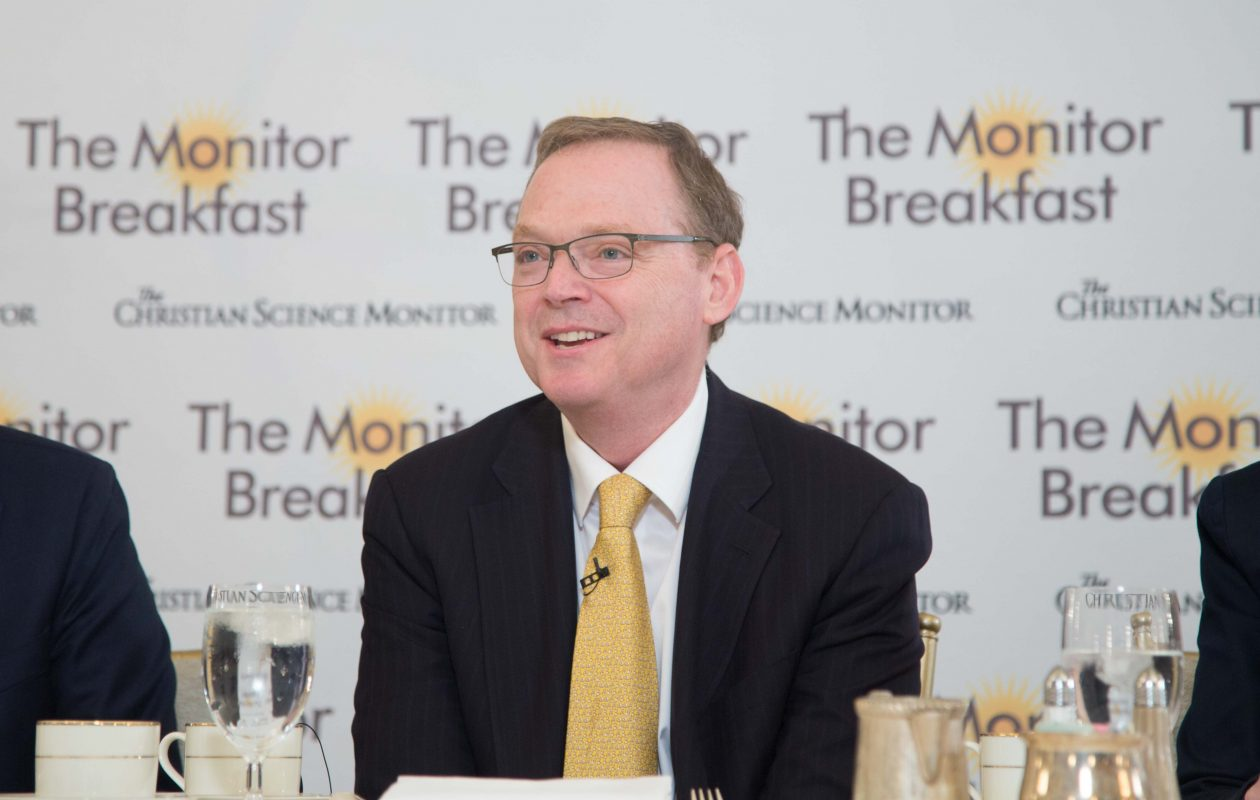 Kevin Hassett, chairman of President Trump's Council of Economic Advisers, speaks at a breakfast sponsored by the Christian Science Monitor on Thursday. (Matt Orlando/The Christian Science Monitor)