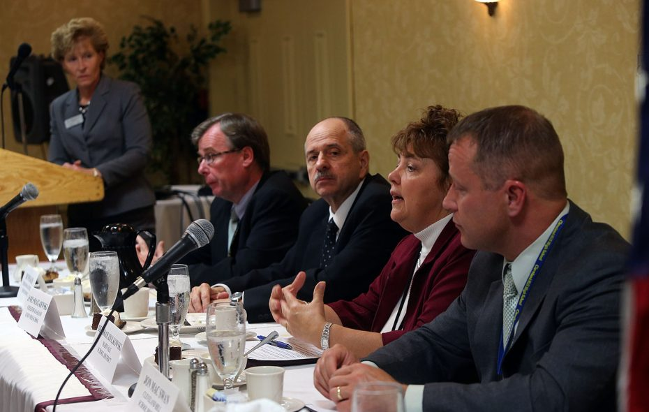 The idea of merging districts isn't a new one. In 2012, the superintendents of four Cheektowaga school districts -- seated, from left, Dennis Kane, Cheektowaga Central; James Mazgajewski, Sloan; Deborah Ziolkowski, Maryvale; and Jon Mac Swan, Cleveland Hill -- participated in a discussion of consolidation. (News file photo)