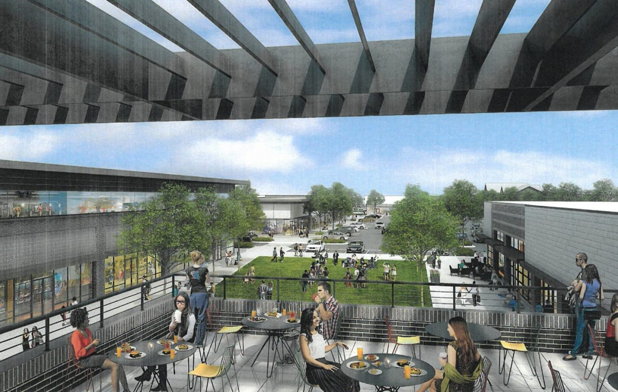 This rendering shows the view looking west to east, toward Whole Foods, on the site of the Northtown Plaza, which WS Development is planning to transform. People sitting on this roof deck will look out over a central green space. (Image courtesy of WS Development)