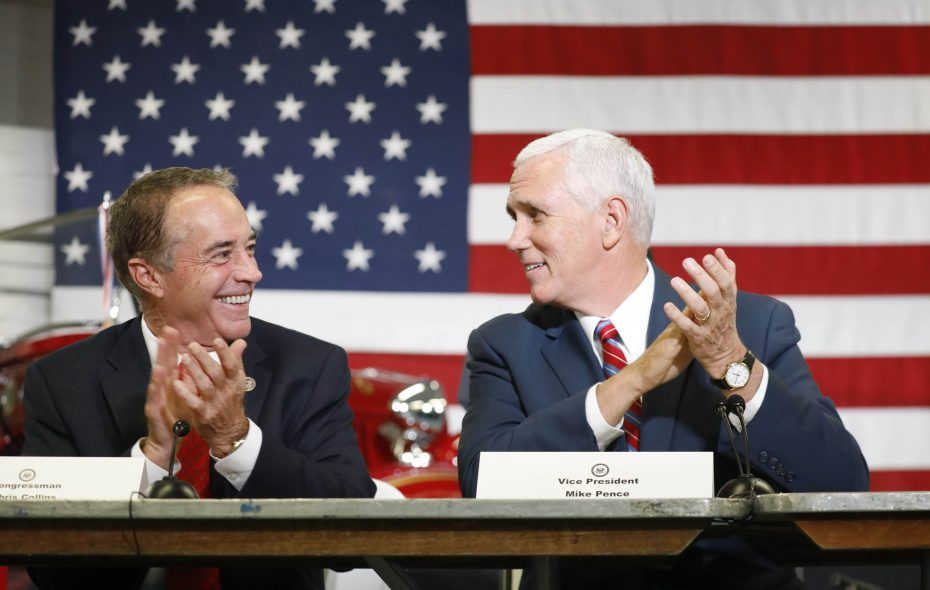 Rep. Chris Collins, left, and Vice President Pence applaud during a roundtable discussion at Performance Advantage Company in Lancaster in October. Pence also attended a fundraiser for the Collins Victory Fund in Buffalo during the visit.   (Derek Gee/ News file photo)
