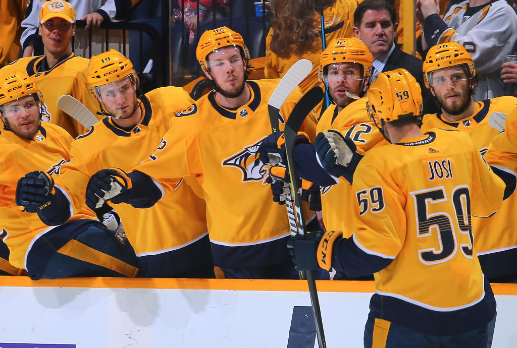 Captain Roman Josi (59) and the Predators have had lots of celebrations en route to winning the Presidents' Trophy (Getty Images).
