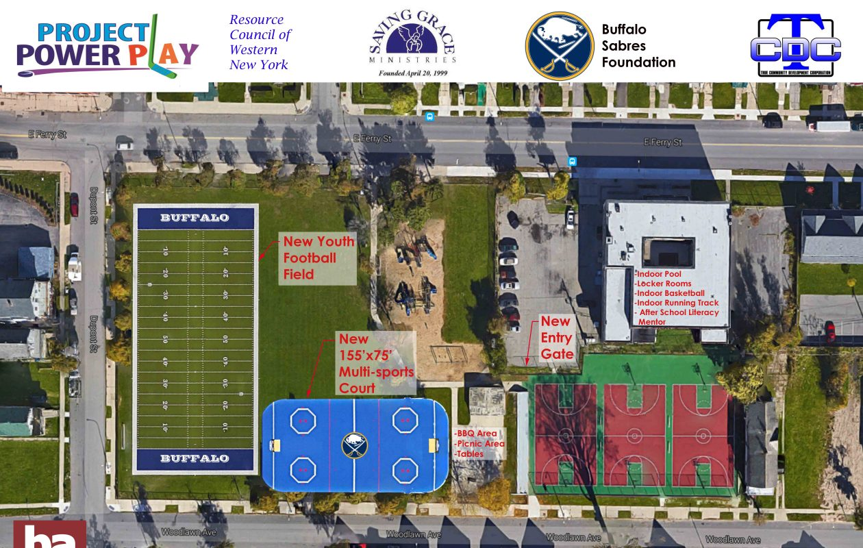 A rendering of a proposed football field and street hockey rink at Perkins Park on East Ferry Street in Buffalo. Ground was broken on the project on Wednesday, April 11, 2018. (Photo courtesy of the Buffalo Sabres Foundation)