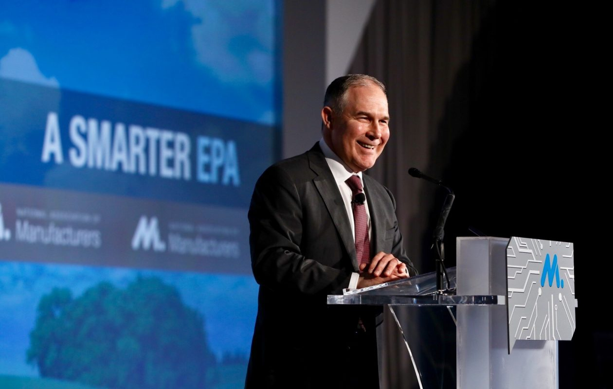 EPA administrator Scott Pruitt is coming under fire for administrative practices. (David Bohrer/National Association of Manufacturers)
