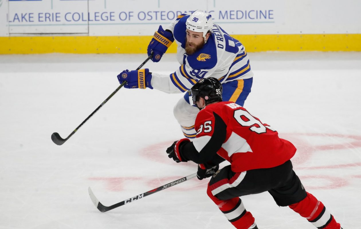 Ryan O'Reilly set the NHL single-season record for faceoff victories Saturday night (Harry Scull Jr./News file photo).