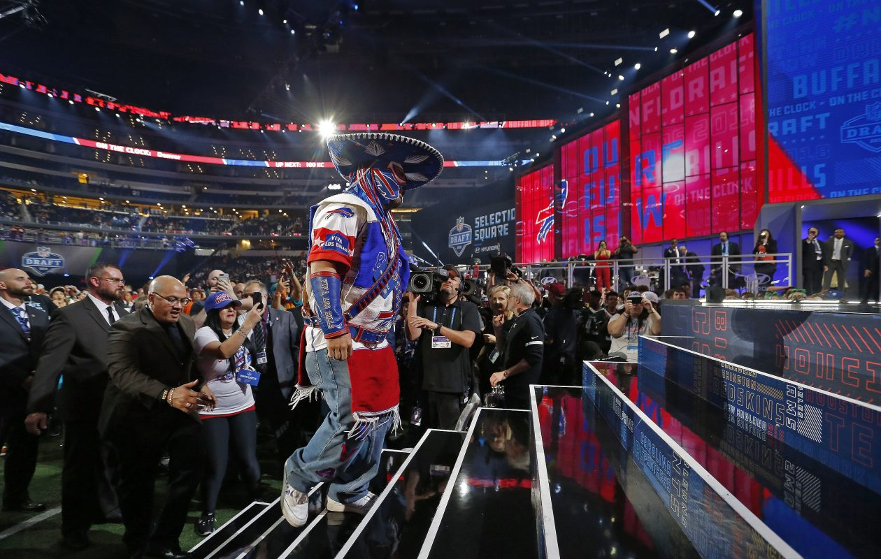 Battling a serious illness, Ezra Castro, aka 'Pancho Billa', a longtime Buffalo Bills fan, got to make the Bills' third-round pick (Paul Moseley, Tribune News Service)