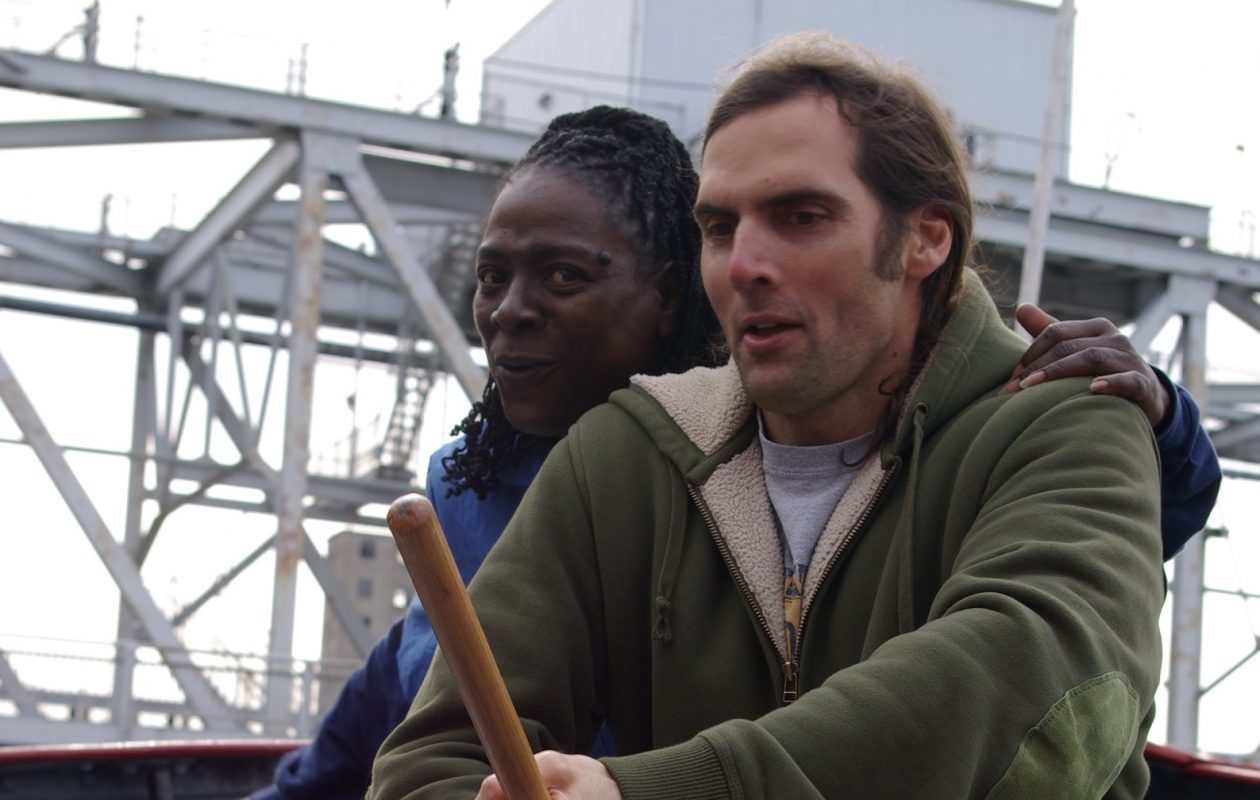 Sharon Jones and Peter McGennis aboard Buffalo's Edward M. Cotter Fireboat during the filming of 'Queen City.' Jones contributed to the film's soundtrack. (Photo courtesy of Peter McGennis)