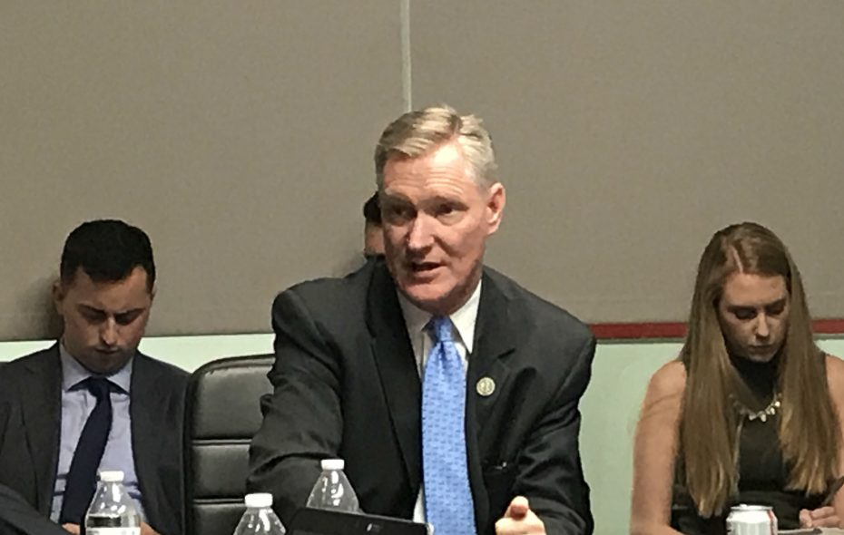 Rep. Steve Stivers of Ohio, chairman of the House Republican Congressional Committee, flanked by staff at a recent meeting of regional reporters in Washington. (Jerry Zremski/The Buffalo News