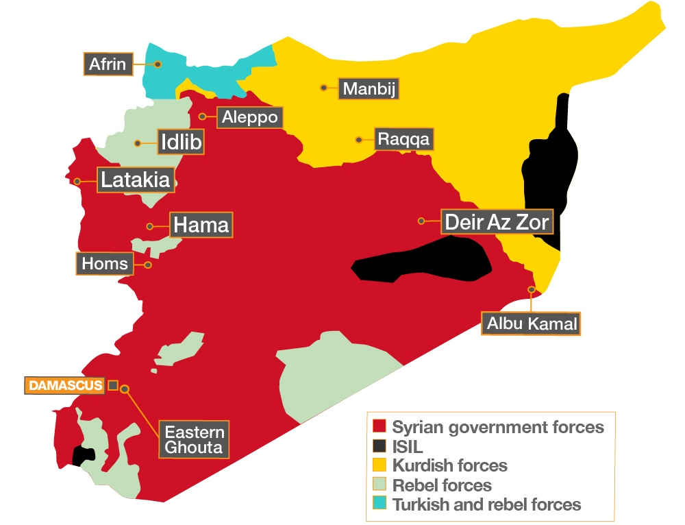 This map, current as of last Friday, shows that the Syrian government now controls most – but not all – of the war-torn country. (Al Jazeera)