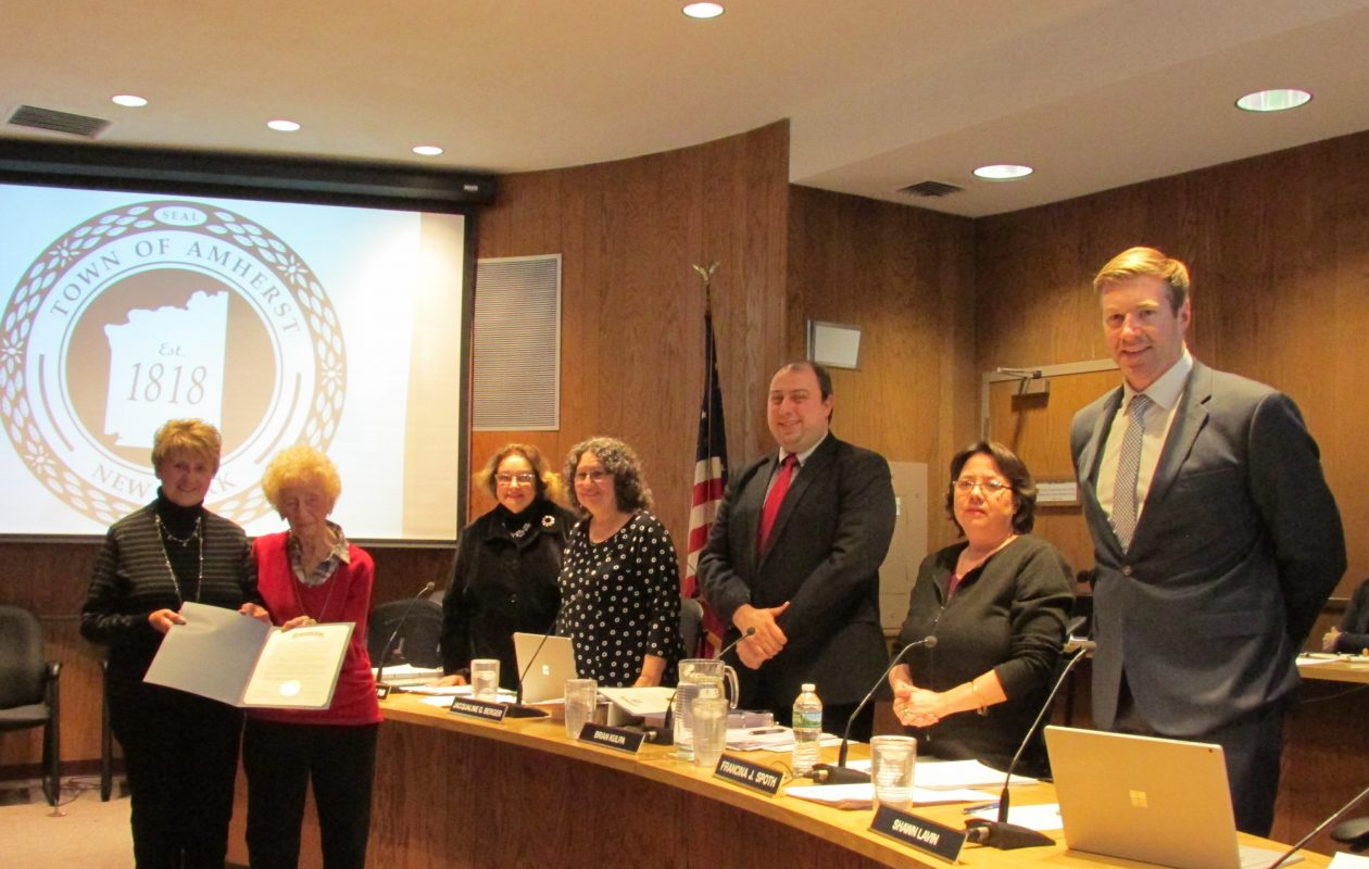 Celestine (Sally) Siemankowski Szemenciak, second from left, was honored last week by the Amherst Town Board.