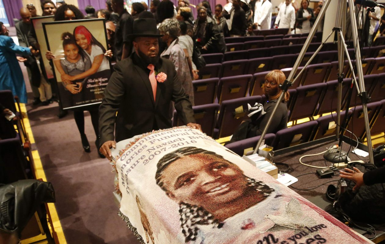 Pallbearers carry the casket of 8-year-old Treasure Brighon, who died after battling injuries she sustained in a deadly house fire in February, during her funeral in May 2016. (Derek Gee/News file photo)
