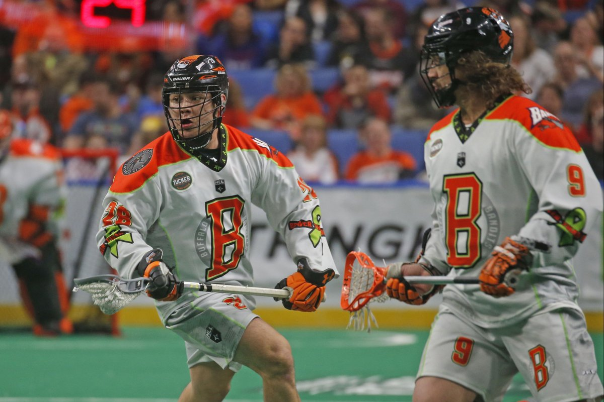 The Buffalo Bandits wore specialty jerseys for Tucker Out Lymphoma Night Saturday against the Toronto Rock. (Robert Kirkham / Buffalo News)