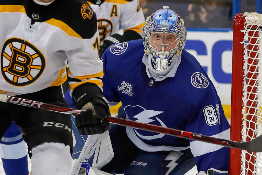 Tampa Bay goalie Andrei Vasilevskiy kept his eye on every puck the Boston Bruins sent his way in posting a shutout Tuesday night (Getty Images).
