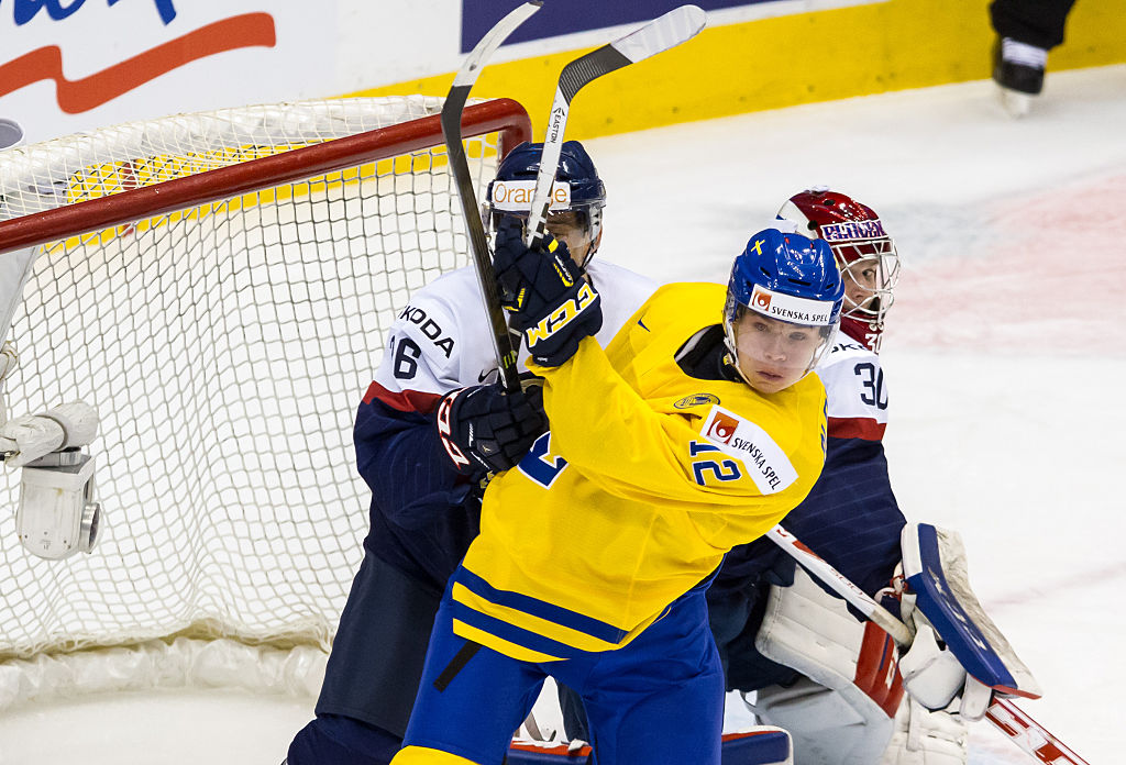 Victor Olofsson (gold) has experience with Sweden at the World Junior Championship. (Getty Images).