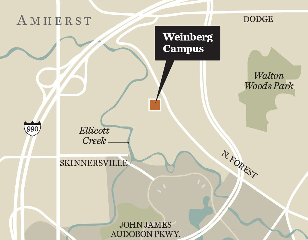 This map shows the location of the Weinberg Campus in Amherst, which is selling for $47 million to the parent of the Elderwood group of nursing homes and senior care facilities.
