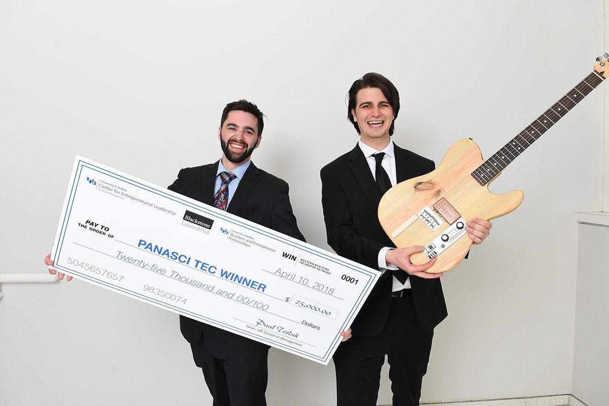 Algorhythm Technologies (formerly Bitcrusher,), with Ryan Jaquin (left) and Shane Nolan, won the Panasci Entrepreneurial competition this year. (Photo courtesy of Nancy J. Parisi)