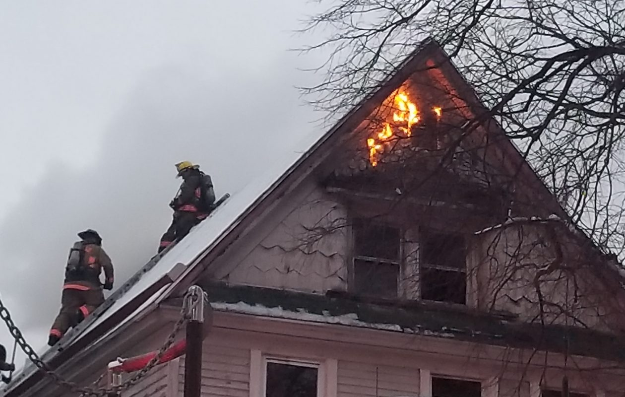 Buffalo firefighters battled a blaze at a house on Breckenridge St. on the morning of Wednesday, April 18, 2018. (David David F. Kazmierczak/Special to the News)