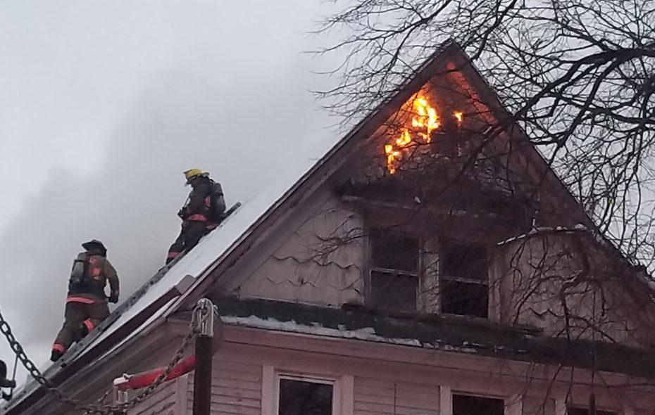 Buffalo firefighters battled a blaze at a house on Breckenridge St. on the morning of Wednesday, April 18, 2018. (David David F. Kazmierczak/Special to the News)