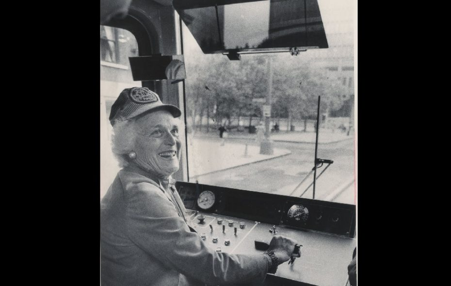 A 1984 photo shows Barbara Bush, wife of  then vice president George Herbert Walker Bush, takes the controls taking a ceremonial ride on a new Metro Rail car.  (Buffalo News file photo)