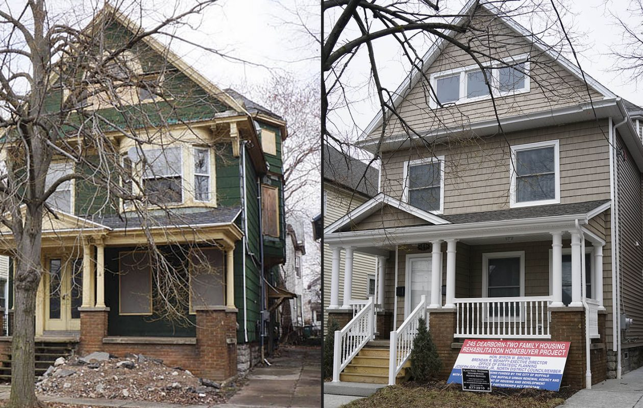 A before and after view of 245 Dearborn St., which the City of Buffalo spent $523,600 to rehab and is trying to sell for $137,750 to a lower-income first-time homebuyer.  On left, how the house looked before the work was done.